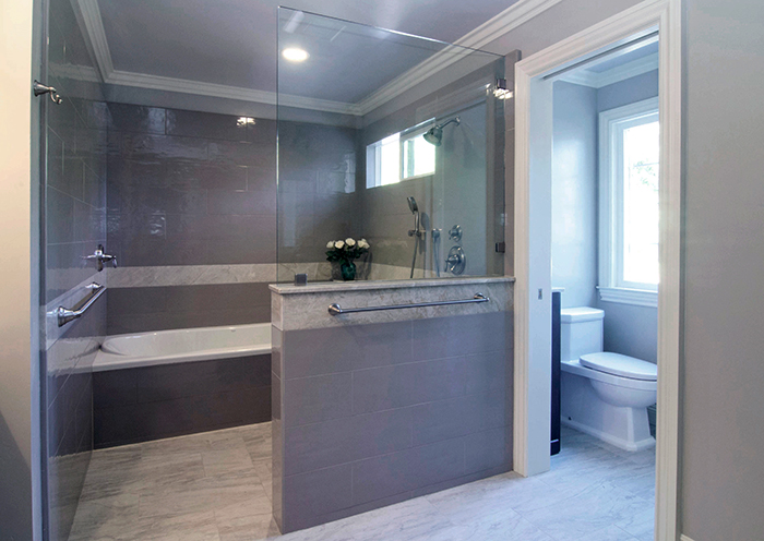Curbless shower and wide doorways into the water closet make Remaining-in-Place possible for those with limited mobility.