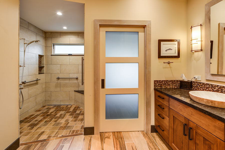 Oakmont Santa Rosa Whole Home Remodel Universal Design Master Bathroom Curbless Shower by LEFF Construction Design Build