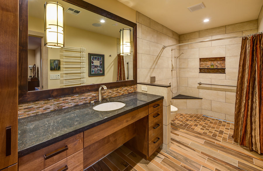 Curbless shower wheelchair accessible vanity Universal Design bathroom by LEFF Design Build