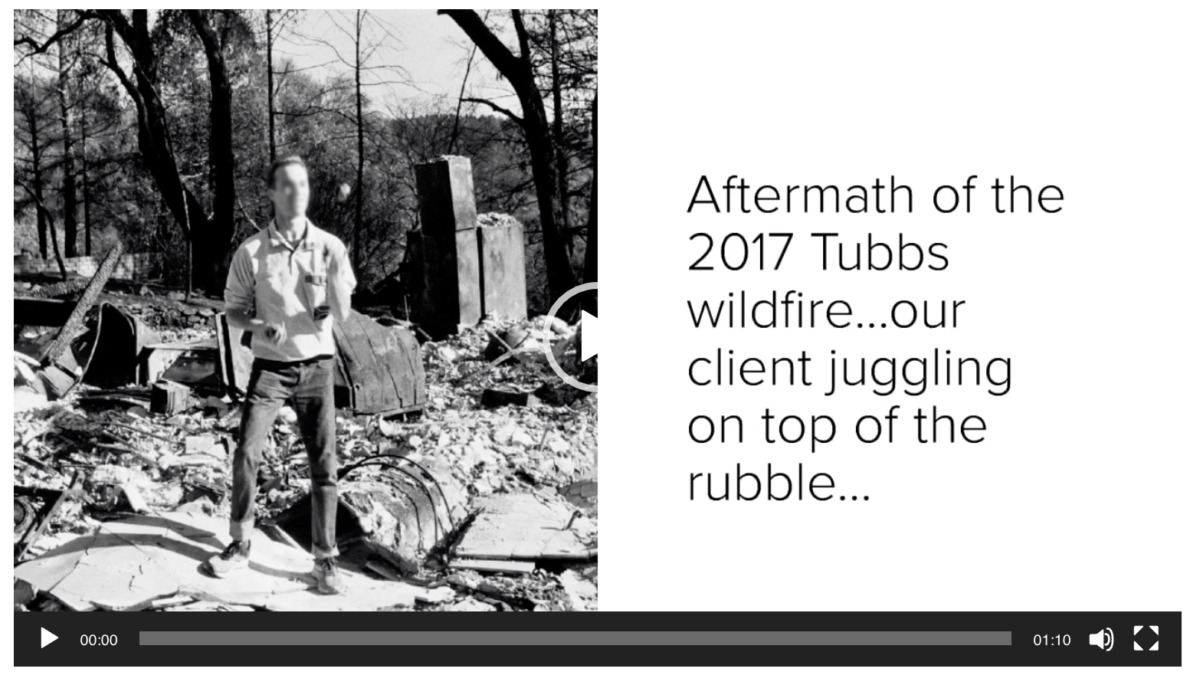 Standing in the rubble of the Tubbs Fire juggling